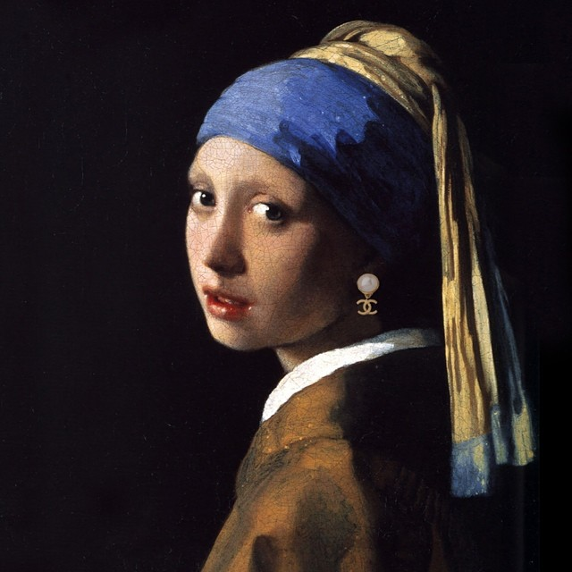 "Original: ""Girl with a Pearl Earring"" by Johannes Vermeer Added: Chanel earring"