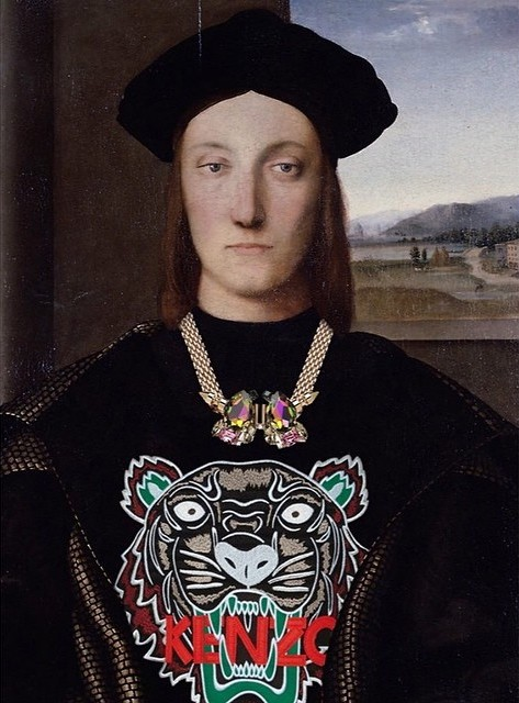 Original: Guidobaldo da Montefeltro by Raphael. Added: Mawi necklace and Kenzo tiger sweater