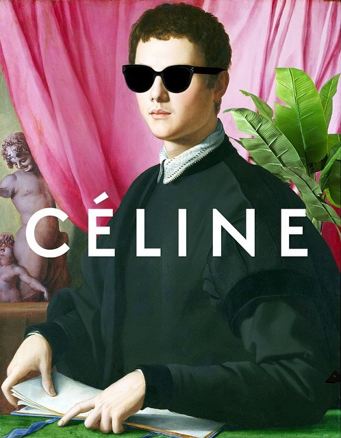 Original: Bronzino's Portrait of a Young Man Added: Celine sunglasses and logo, and a rando banana tree