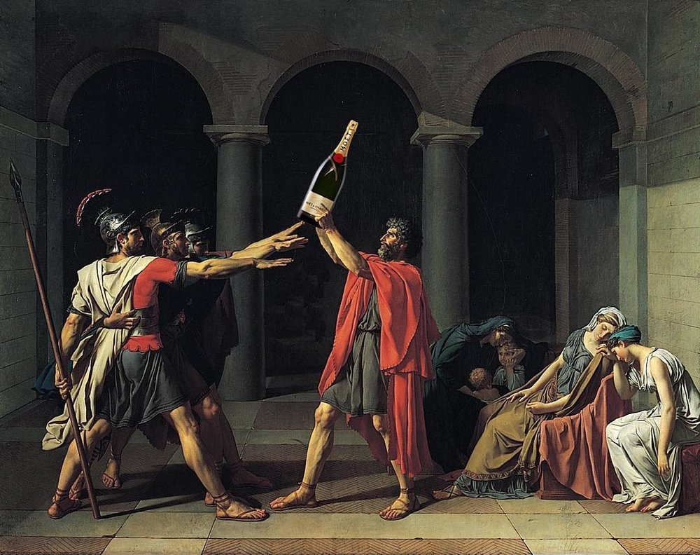 "Original: Jacques-Louis David's ""Oath of the Horatii"" Added: Bottle of Moët & Chandon champagne"