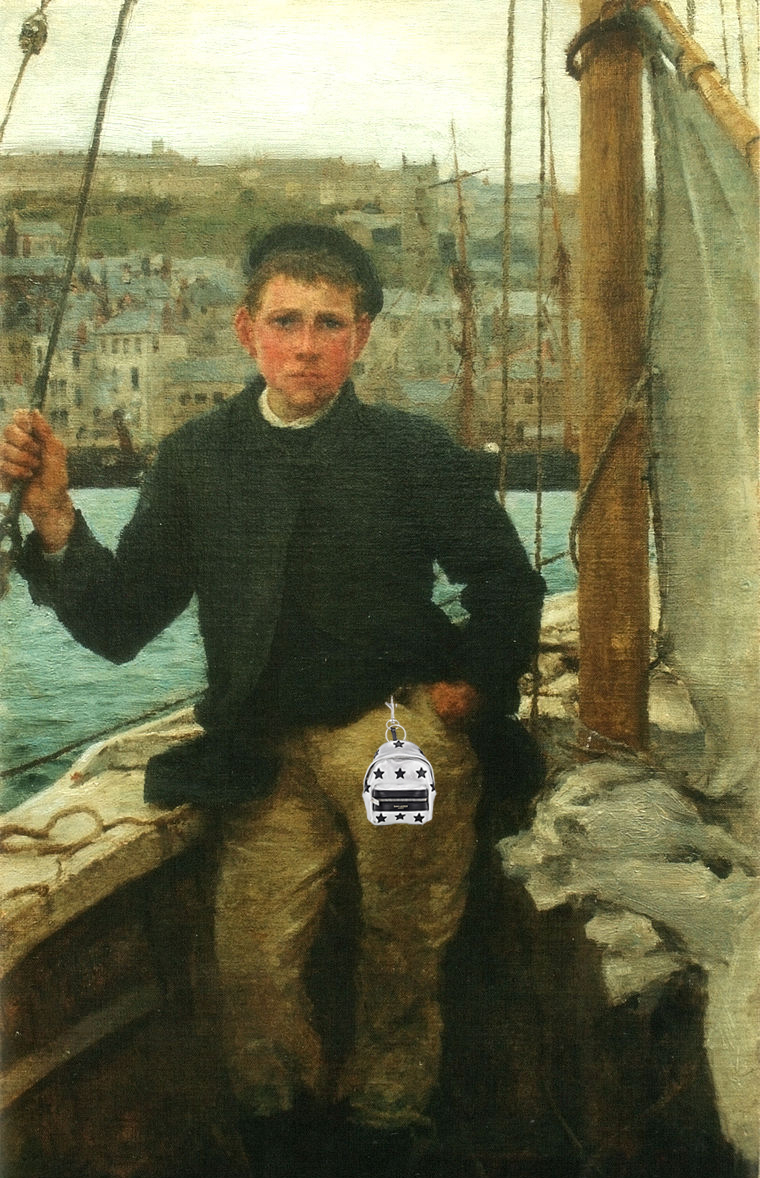 "Original: Henry Scott Tuke's ""Portrait of Jack Rolling"" Added: Saint Laurent Bag Charm"