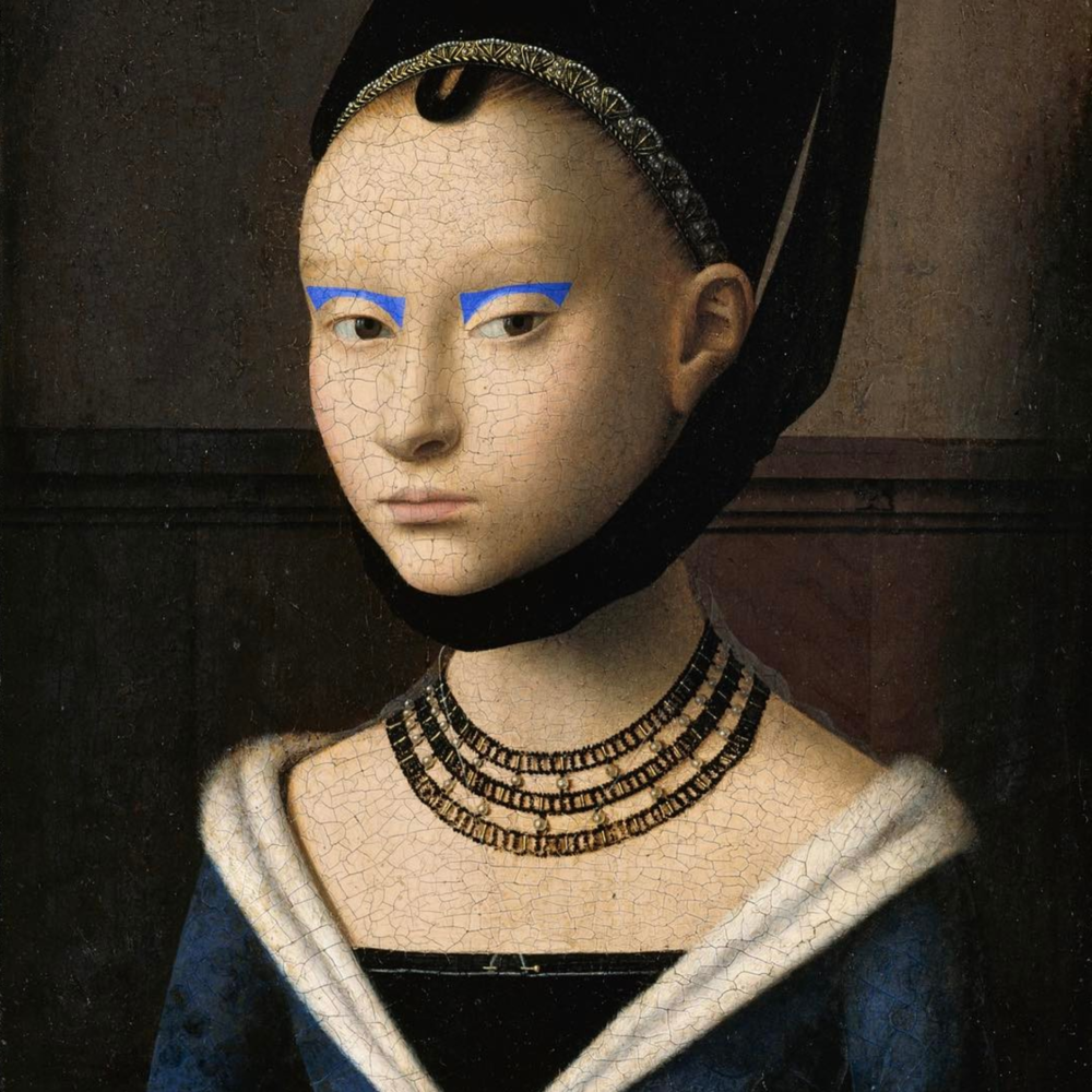 "Original: Petrus Christus' ""Portrait of a Young Girl"" Added: Eye makeup from Prabal Gurung F/W 17 fashion show"