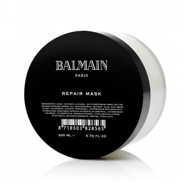 - It was hard for me to accustom myself to regular hair masks but I did it and only after a few months, I'm shocked by the results. Balmain Paris Hair Couture's Repair Mask delivers hydration and nourishment to damaged hair (because of UVA/UVB, treatments and etc). Enriched with fortifying Organic Argan Oil, this cream formula covers each hair and leave them shiny, smooth and replenished.