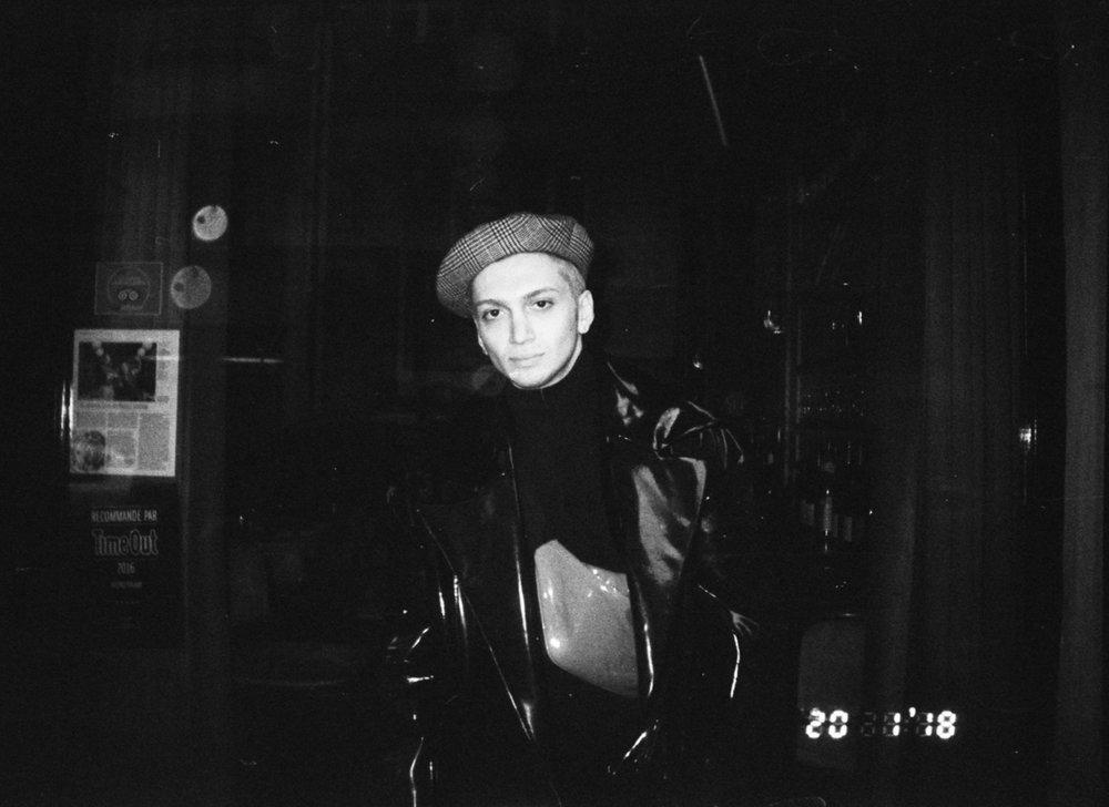 Don Paris berett hat x Ani Datukishvili lacquered oversized jacket x MSGM turtleneck
