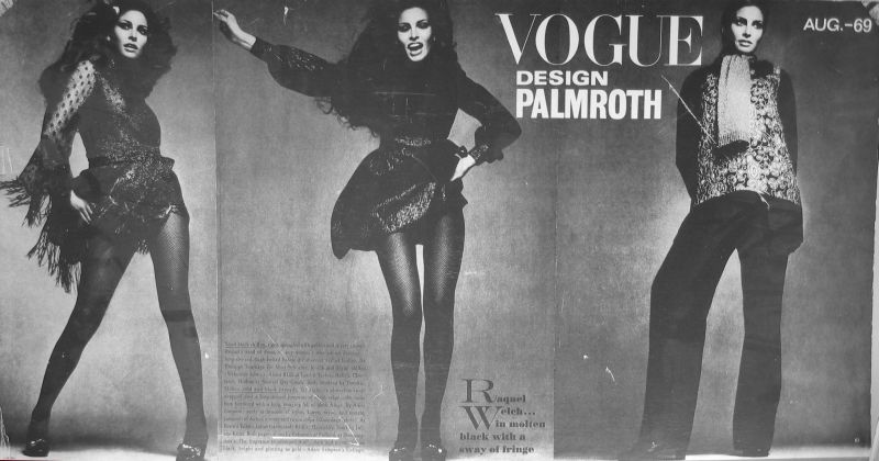 Palmroth shoes in editorial of US Vogue 1969 featuring Raquel Welch, photography Richard Avedon.