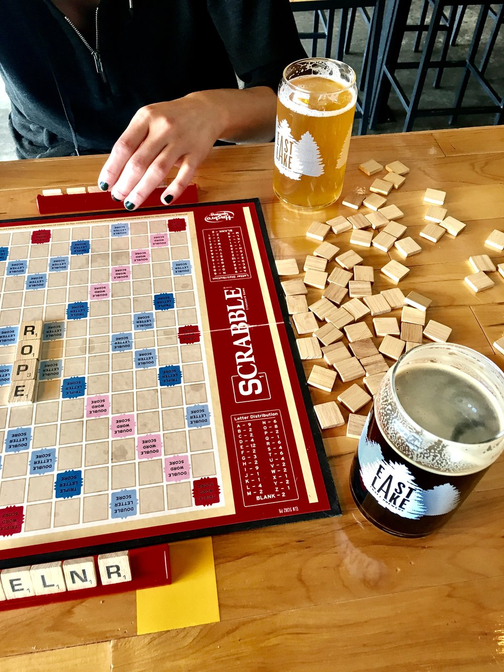 Not only does this place have insane beers, they also have a high stack of great board games! My friend Meg and I attempted to play Scrabble but were quickly side tracked with wanting to order burritos and spring rolls.