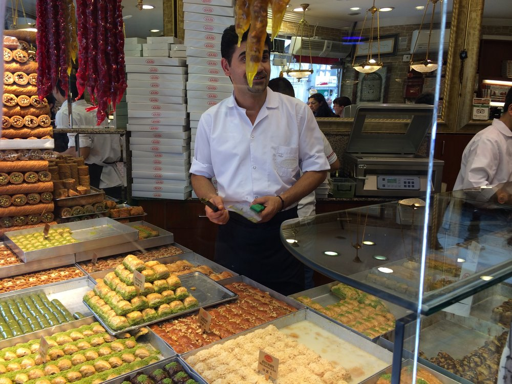 The King of baklava near Grand Bazaar, Istanbul, Turkey