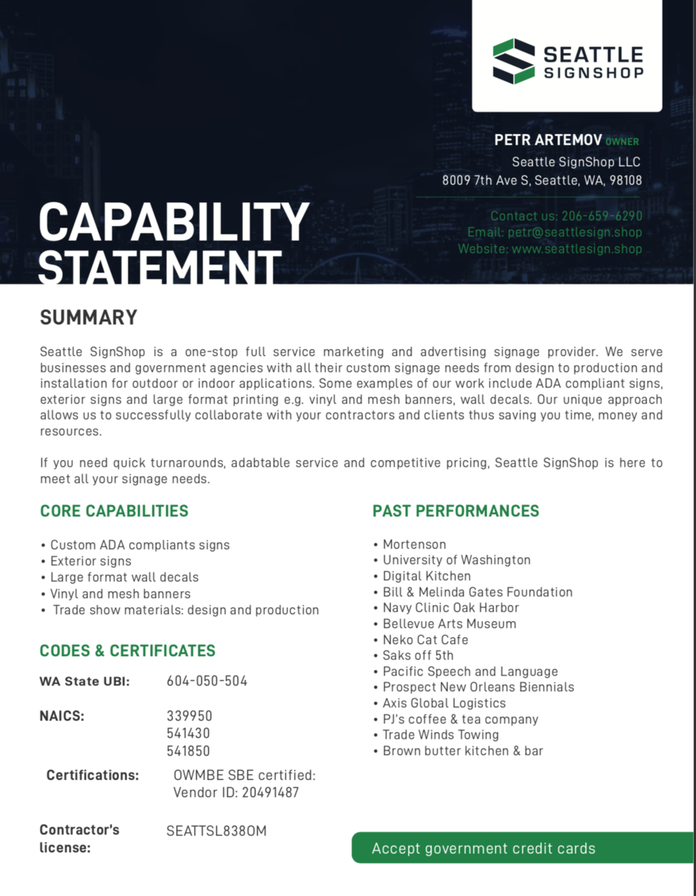 Capability Statement Page 1