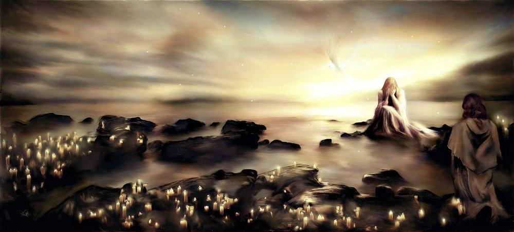 Kyrie Elesion. Akryl och kol på canvas. 110 x 60 cm.
