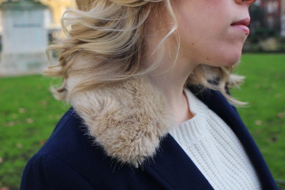 Detail of faux fur trim on  Topshop  coat