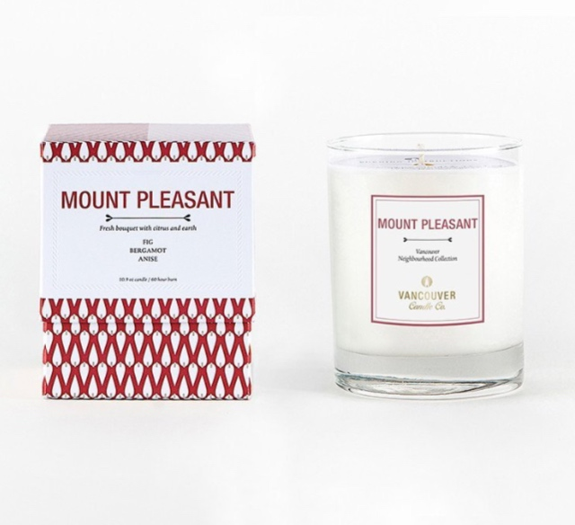Vancouver Candle Co .  Mount Pleasant Candle , $38, https://www.vancouvercandleco.com/   This candle has hints of fig, bergamot and anise and is my favourite candle in rotation at the moment. Even the box is perfect for Valentine's Day with its red decor. Each candle is handmade with premium soy wax and has a 60hr burn.