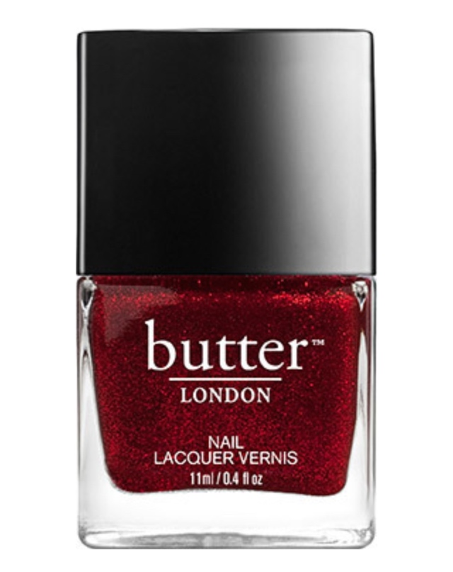 Butter London,   Chancer,  $15, http://butterlondon.ca/  If you're like me, I won't be wearing red on Valentine's Day, however, I love a red nail. This red nail polish with its metallic finish is the perfect colour for that Valentine's manicure.  Butter London  is my favourite nail polish brand, its products are not tested on animals and free from all those horrible chemicals found in other nail polish brands. They can be found at Hudson Bay and lots of little unique boutiques around Victoria.