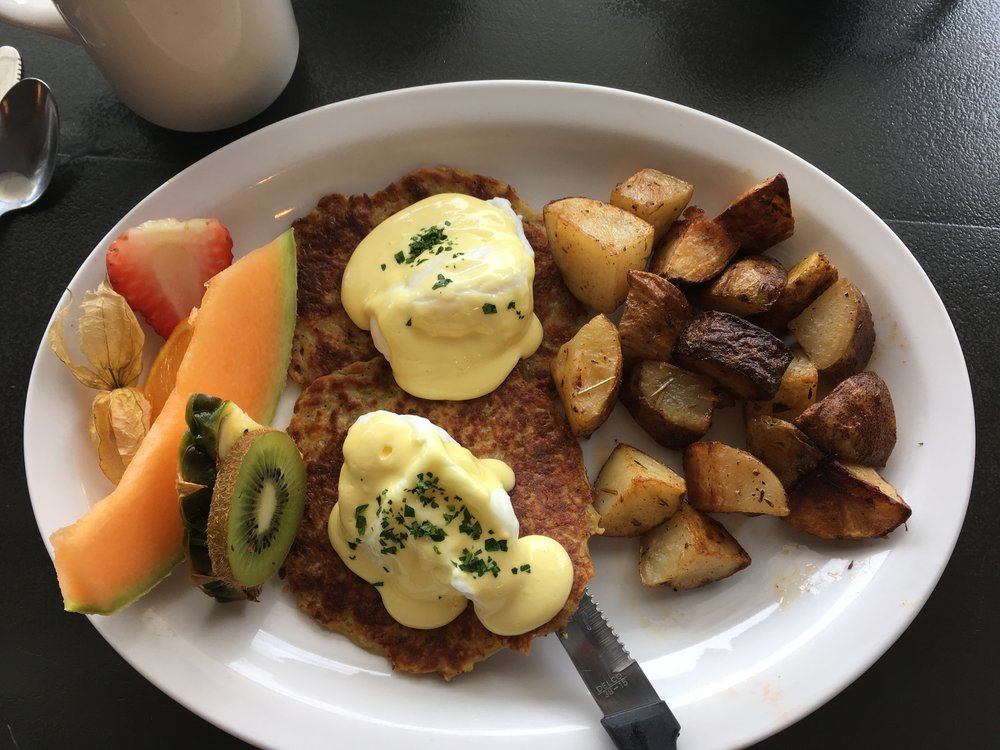 The 'Just' Benny with a side of potatoes