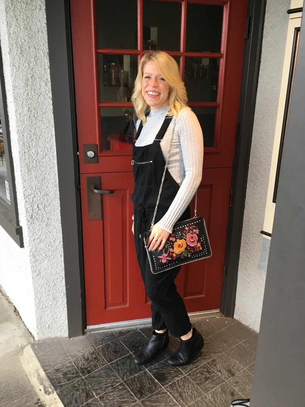 Topshop  Ribbed Turtleneck,  Aritzia  Overalls,  Sam Edelman  Booties, Topshop Embroidered Purse,  Dior Addict Lip Gloss
