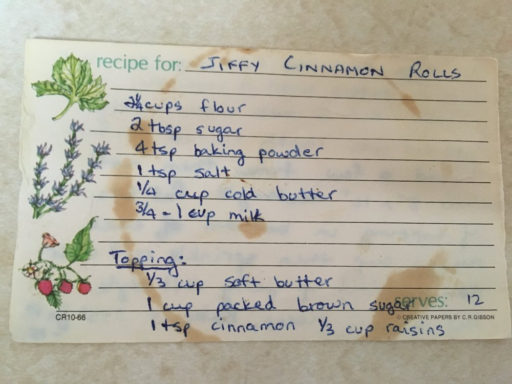 My mum's 'well-loved/used' recipe for Jiffy Cinnamon Buns