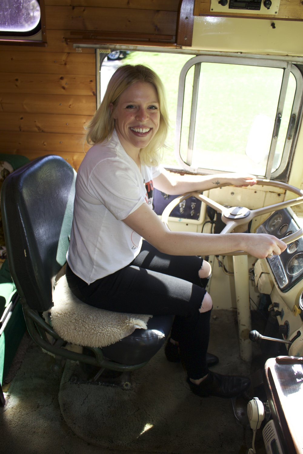 He even let me pretend to drive the bus!