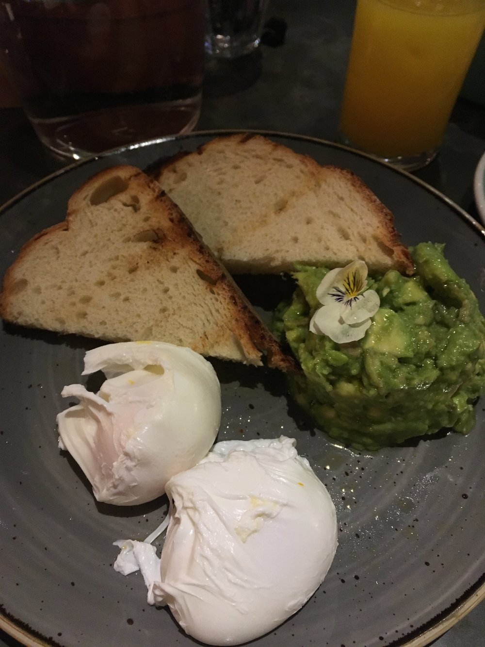 My mashed avocado & toast with a side of poached eggs