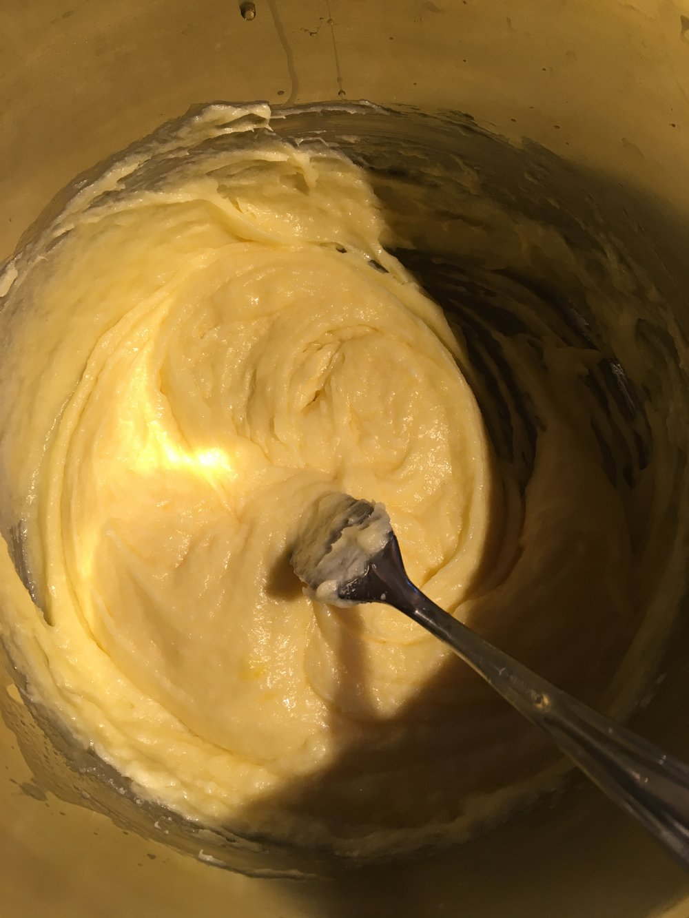 Start of the butter, sugar and egg mixture