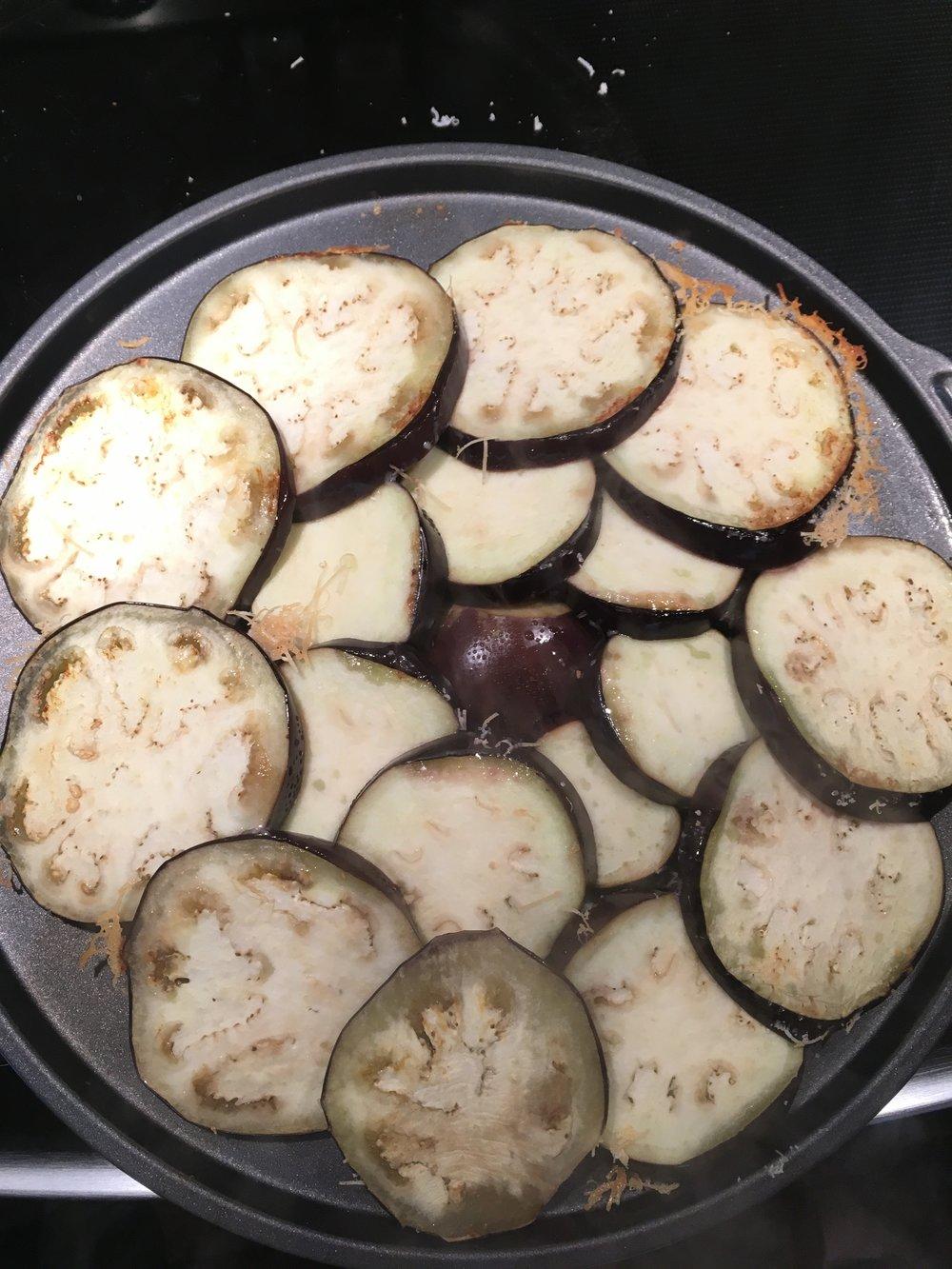 Second step, carefully flip the eggplant