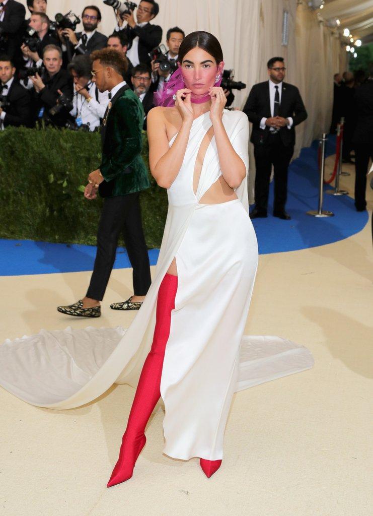 Lily Aldridge wearing  Ralph Lauren  dress and  Balenciaga shoes