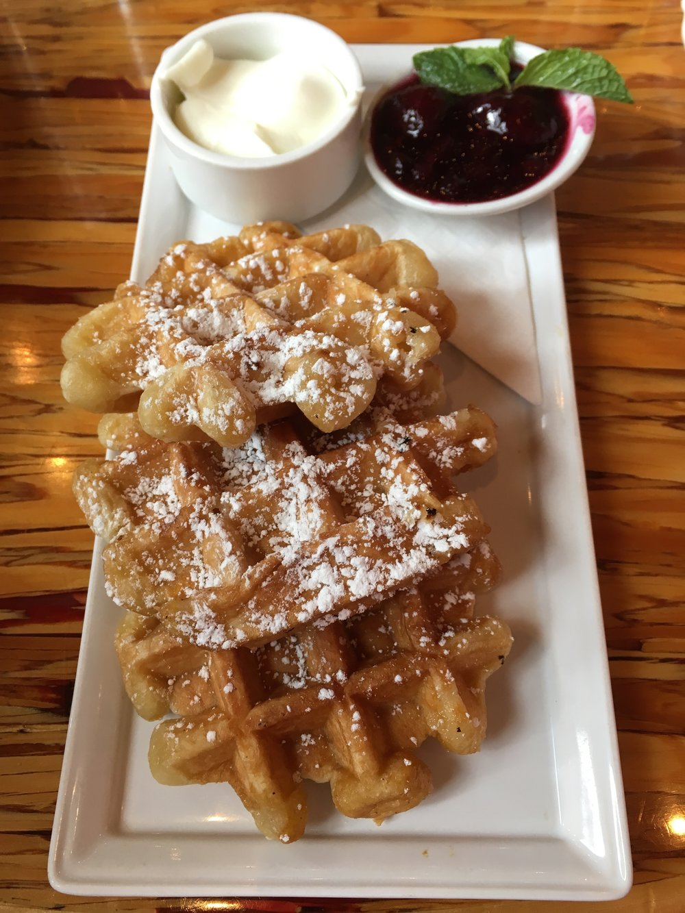 Waffles with Berry Compote and Yogurt sides