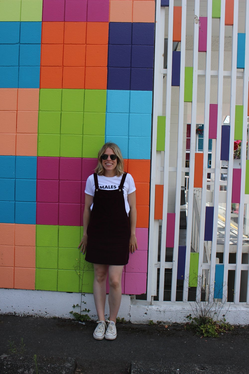 Topshop Pinafore Dress (similar   here  ), Topshop Graphic Tee (similar   here  ),   Converse   sneakers,   Ray Ban   sunglasses