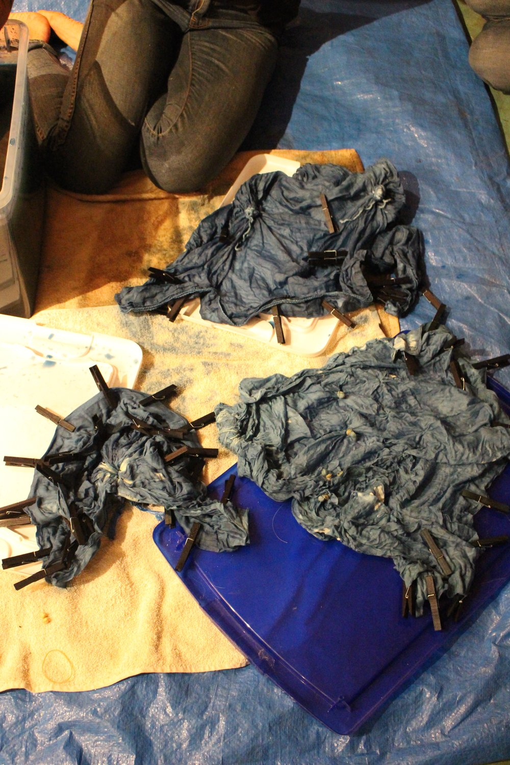 Pieces after the dye bath