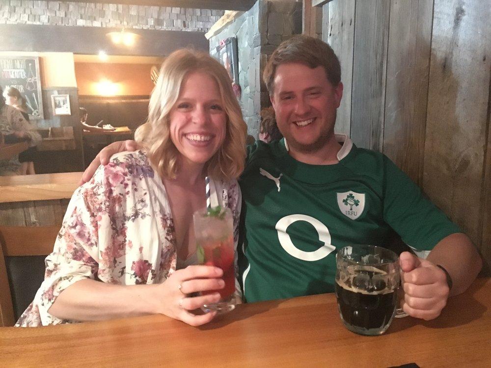 Enjoying our drinks at Jamie's Rainforest Inn