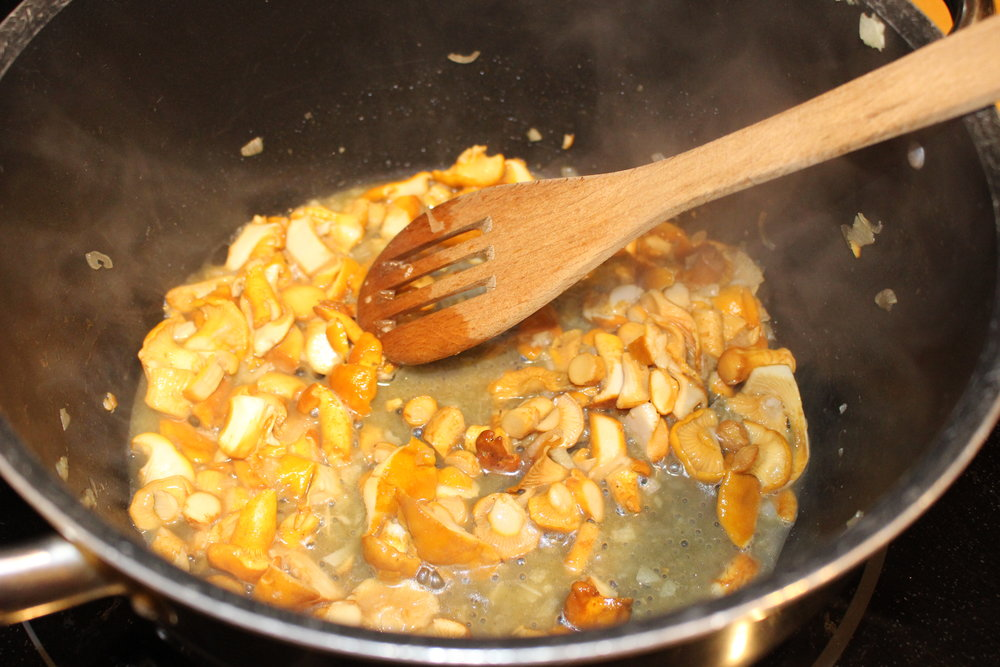 Frying up the chanterelles and shallots first
