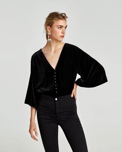 Velvet Bodysuit with Faux Pearls   , $49.90