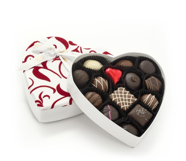 Rogers' Chocolates,   Small White Velvet & Silk Heart, 14 pieces,  $26.99, https://www.rogerschocolates.com/