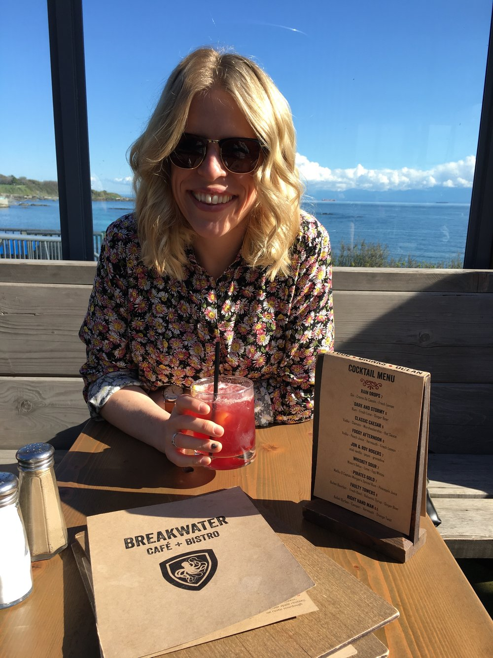 Enjoying a drink at the Breakwater in Victoria