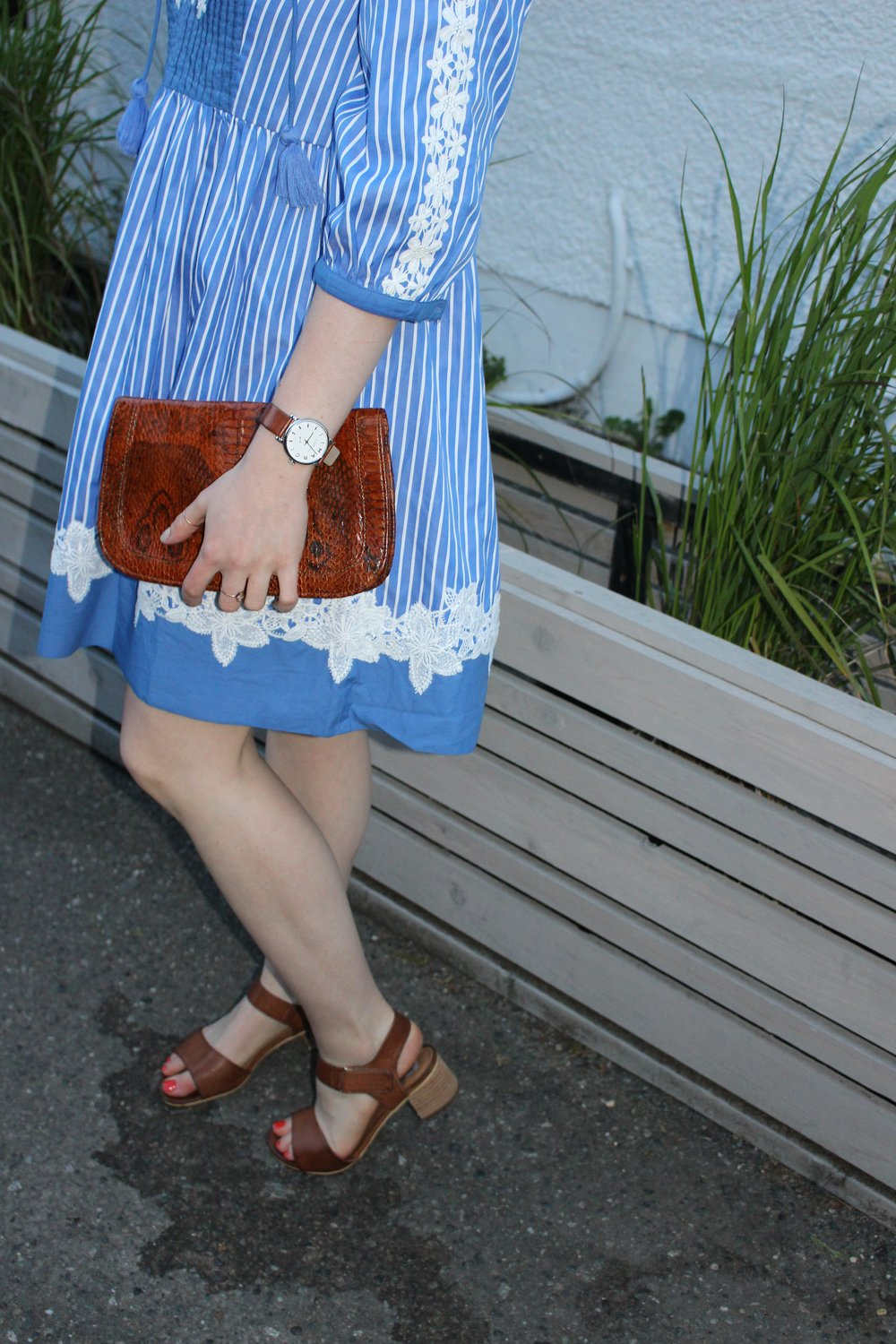 Details: Marc Jacobs Watch, Little Gold Ring, Vintage Clutch, Steve Madden Sandals