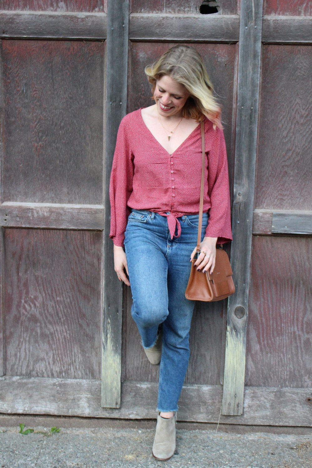 American Eagle    Blouse,    Topshop    Jeans,    Sam Edelman    Booties,    Matt & Nat    Purse,    Kate Spade New York    Necklace