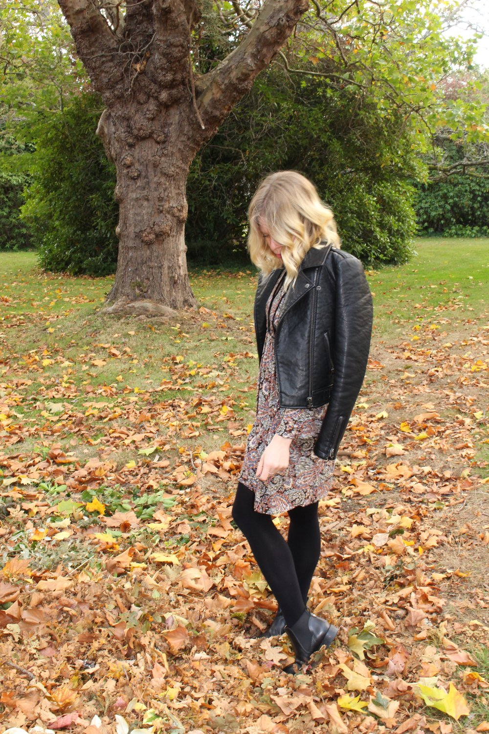 American Eagle    Paisley Dress,    Topshop    Faux Leather Jacket,    Avon    Opaque Tights,    Topshop    Leather Chelsea Boots