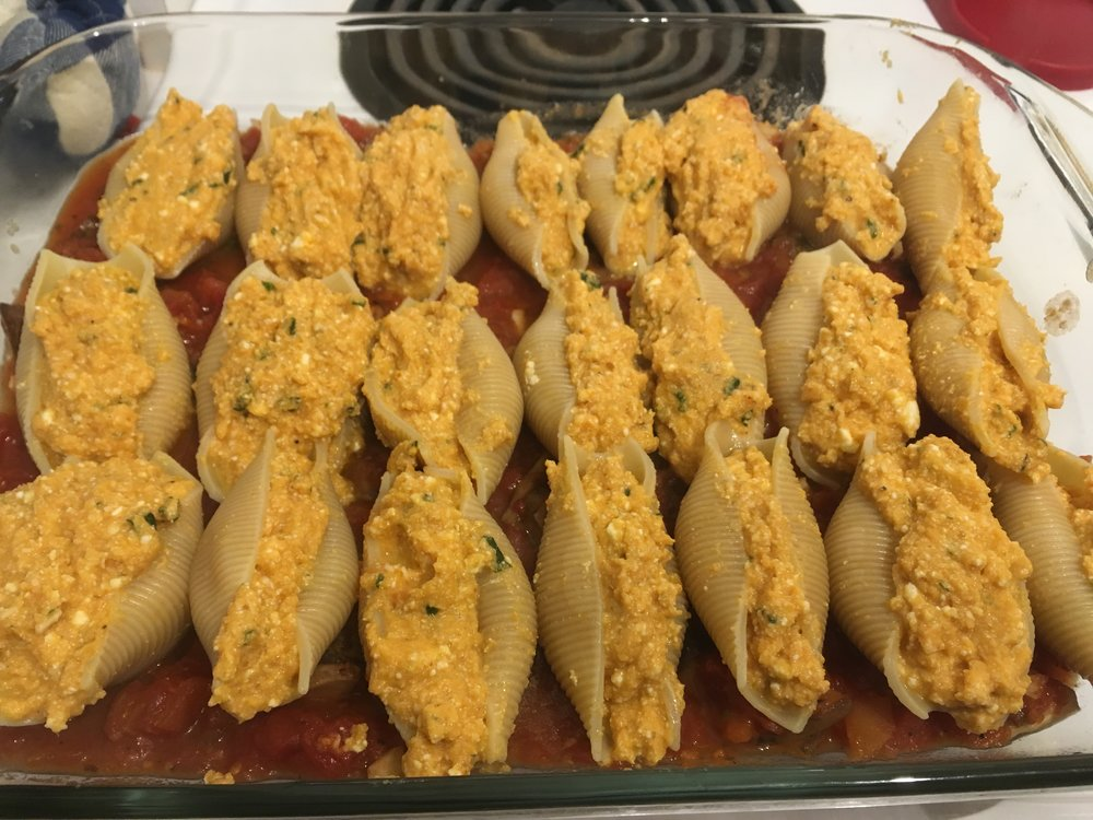 Stuffed pasta shells before baking