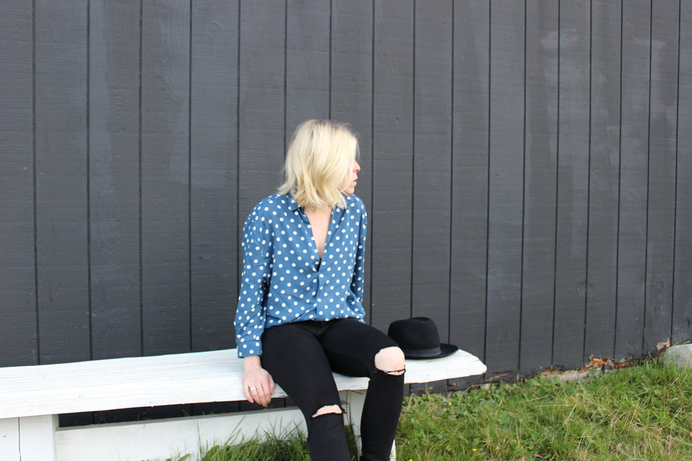 Zara    Polka Dot Blouse,    American Eagle    Denim, Black Wool Hat
