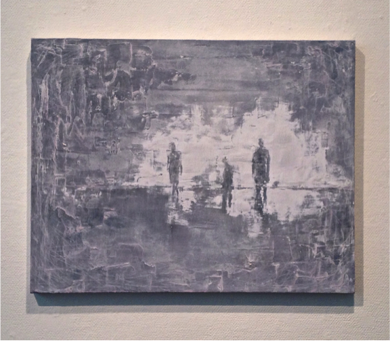 """THE DRIFTERS"" – 24"" x 30"" (acrylic paint and plaster on canvas, 2014)"