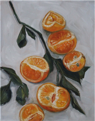 """ORANGE SLICES"" – 8"" x 10"" (oil on canvas, 2017)"