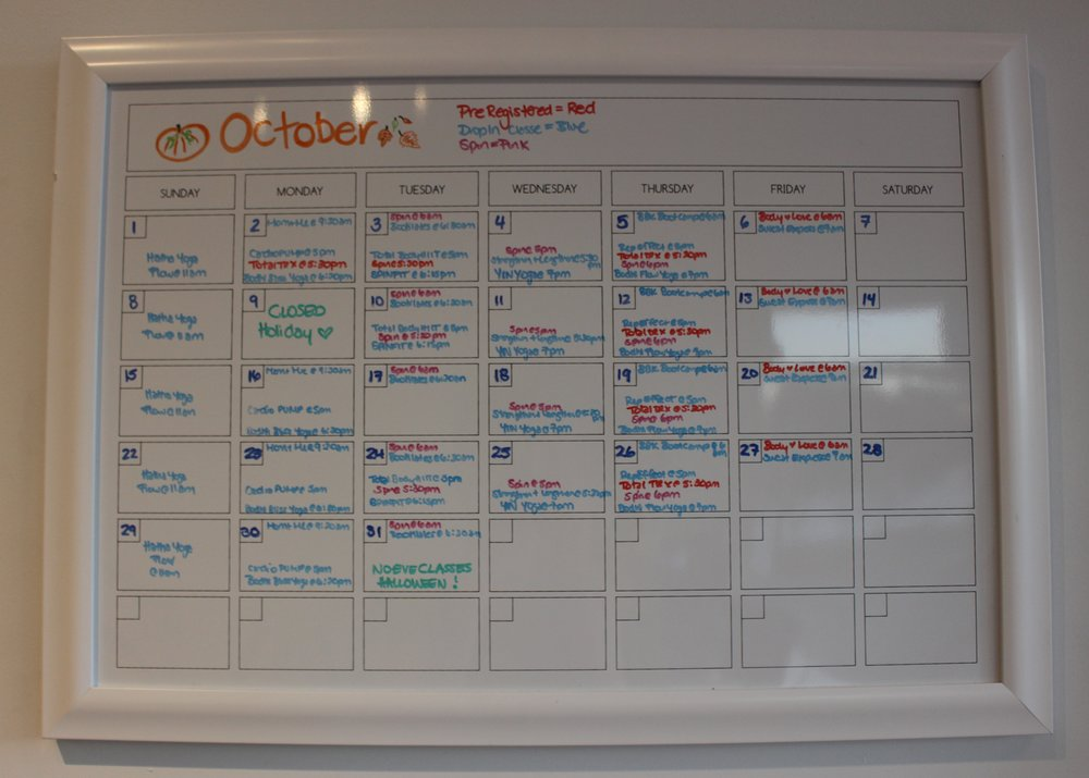 The October schedule has lots of classes on offer