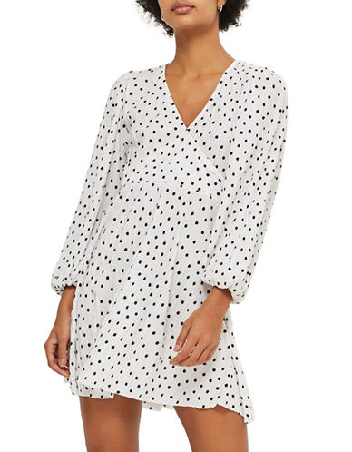 Topshop Spot Plisse Wrap Skater Dress