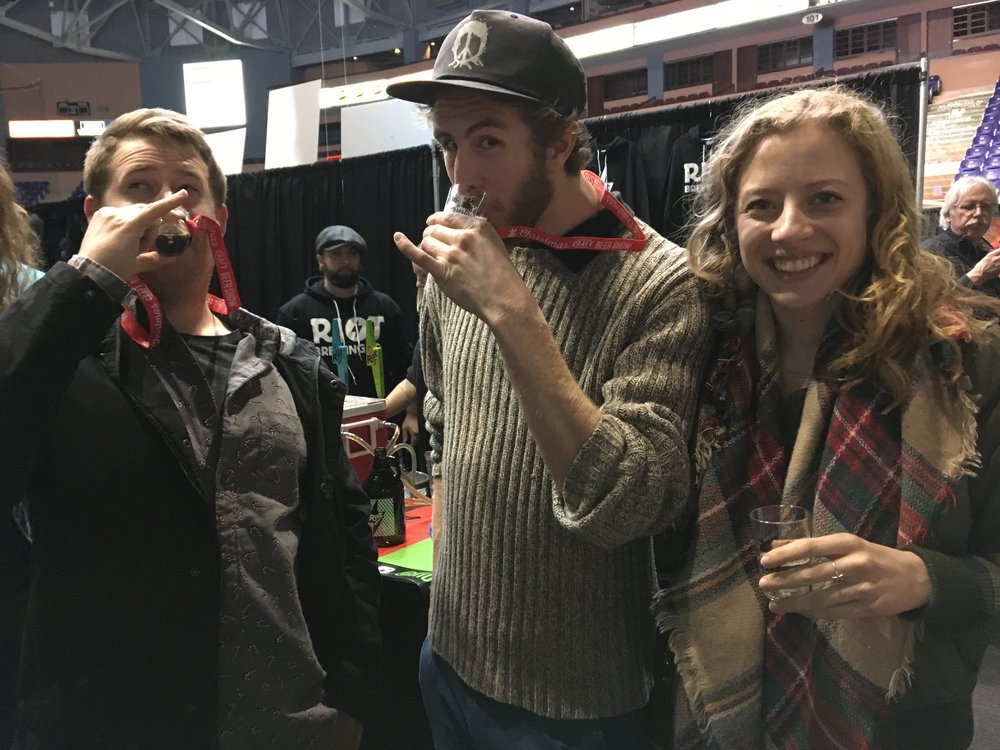 Dave, Devon and Anna excited about their first samples of beer!