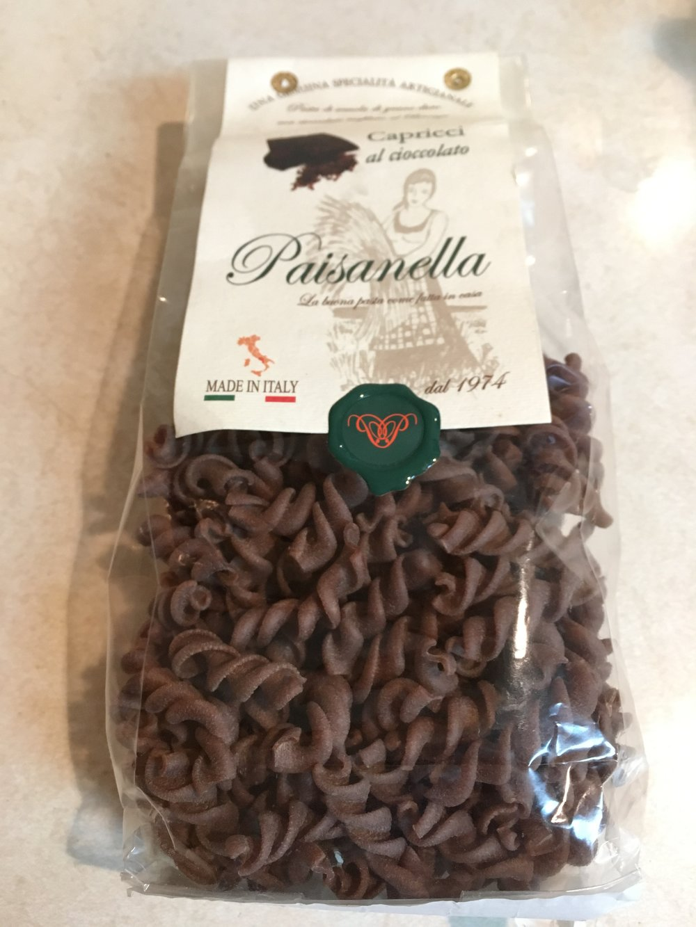 The package of chocolate pasta