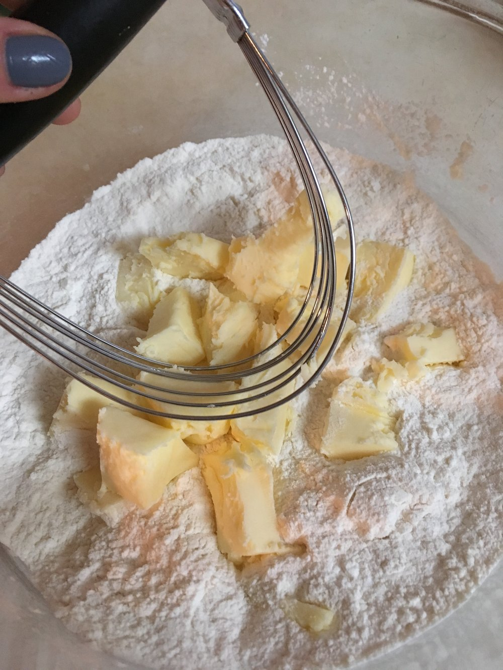 Make sure you cut the butter into the flour mixture, before adding milk