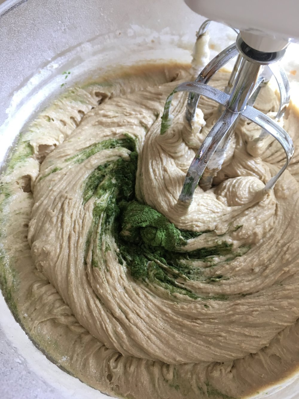 After adding the flour mixture, add your matcha and watch it turn green!