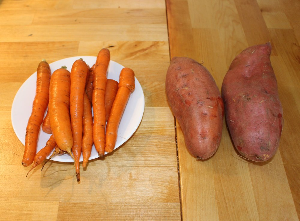 Carrots from my dad's gardens and the yams I'll be using