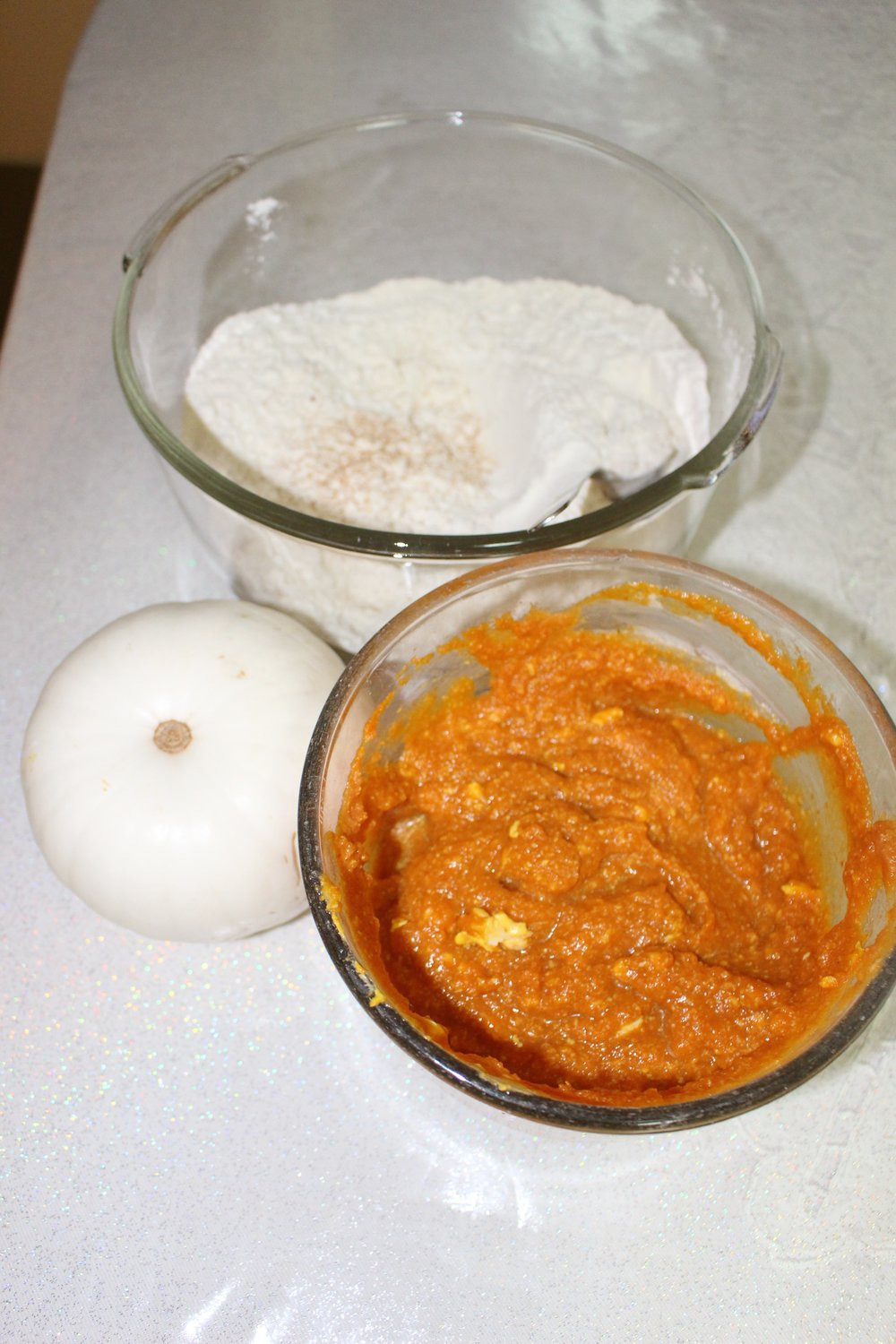 Ready to mix the wet ingredients with the dry ingredients