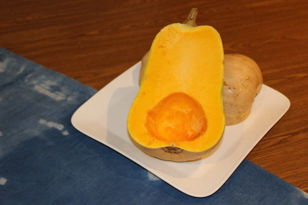 Before baking the butternut squash
