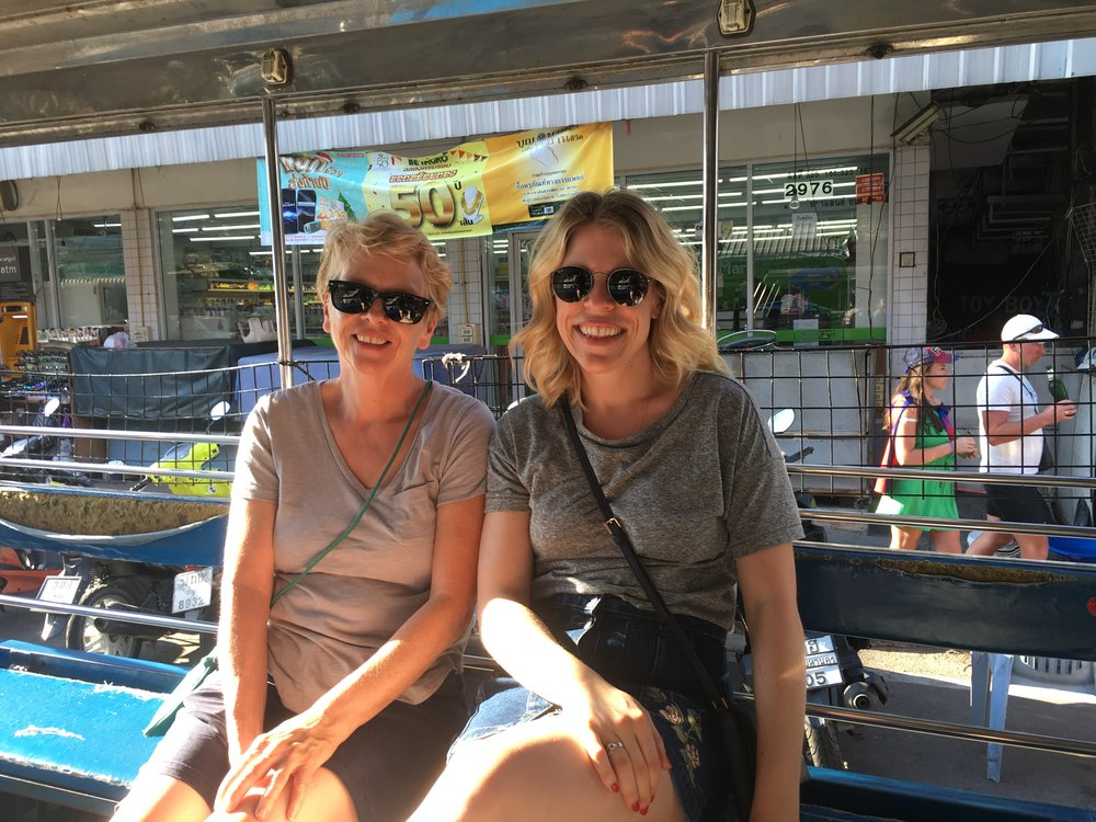 My mum and I on the Baht bus