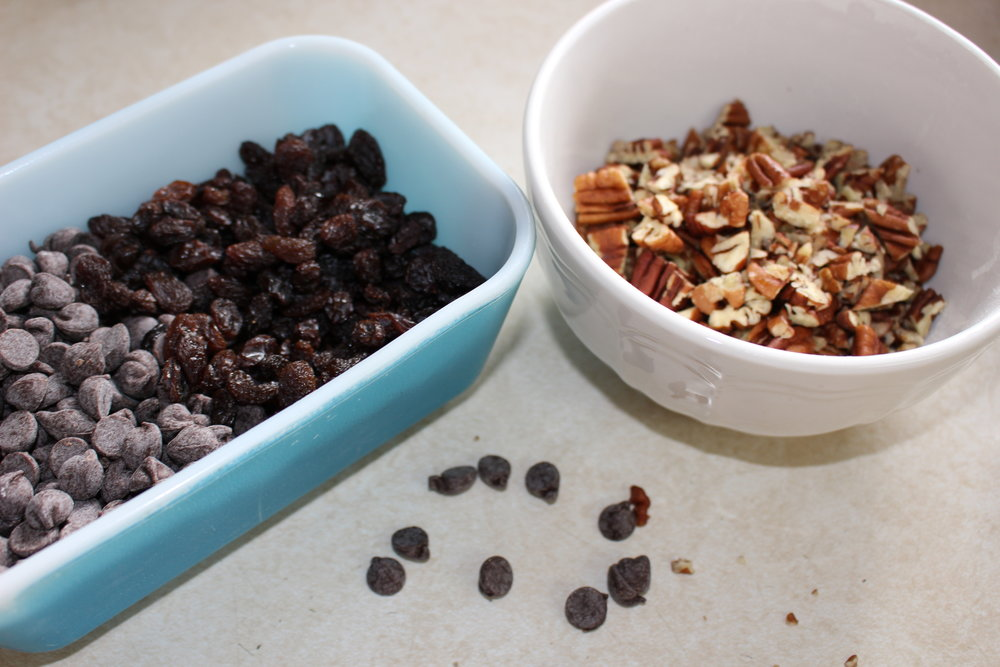 The best part: chopped pecans, chocolate chips and raisins